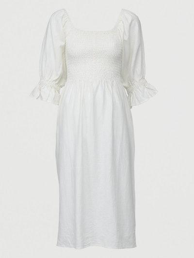 Shirred Body Linen Midi Dress
