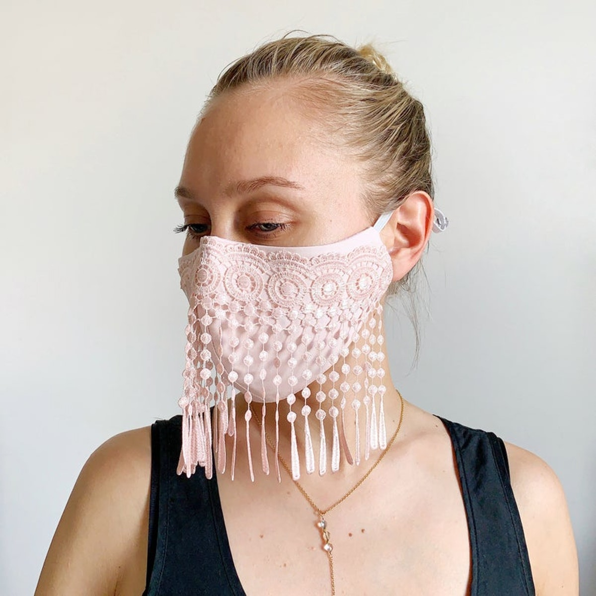 Fashion Stylish Cotton Face Mask with Lace fringe Pink | dust mask Festival look boho wedding mask Adult size soft adjustable elastic