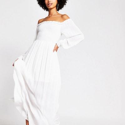 White long sleeve shirred bardot maxi dress