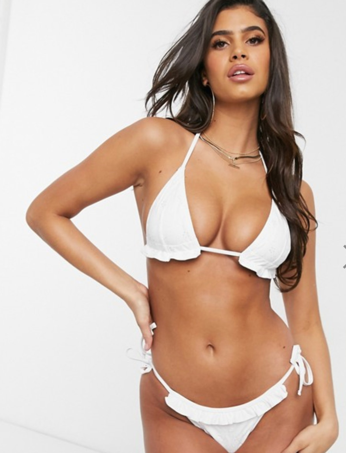 ASOS DESIGN mix and match broderie tie side bikini bottom in white