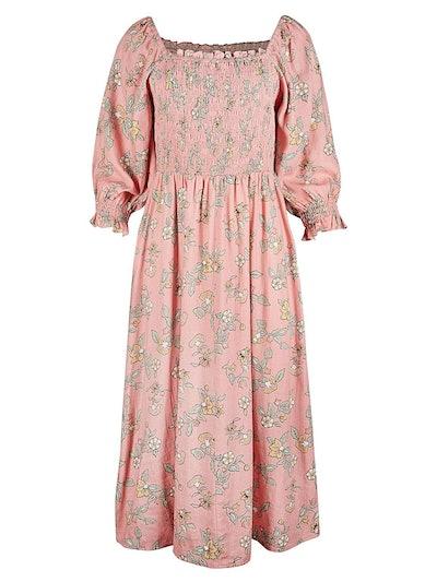 Floral Print Shirred Pink Midi Dress
