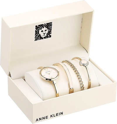 Anne Klein Women's Bangle Watch And Crystal Bracelet Set