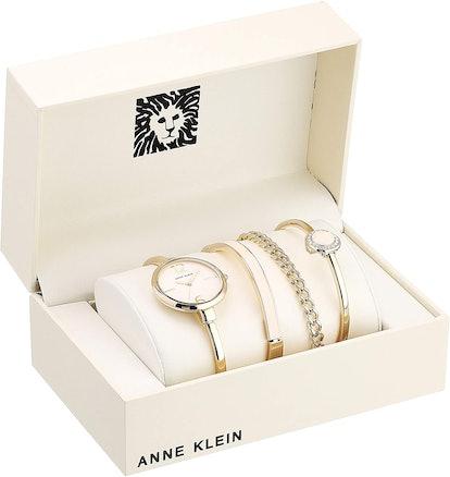 Anne Klein Women's Bangle Watch And Crystal Bracelet Set