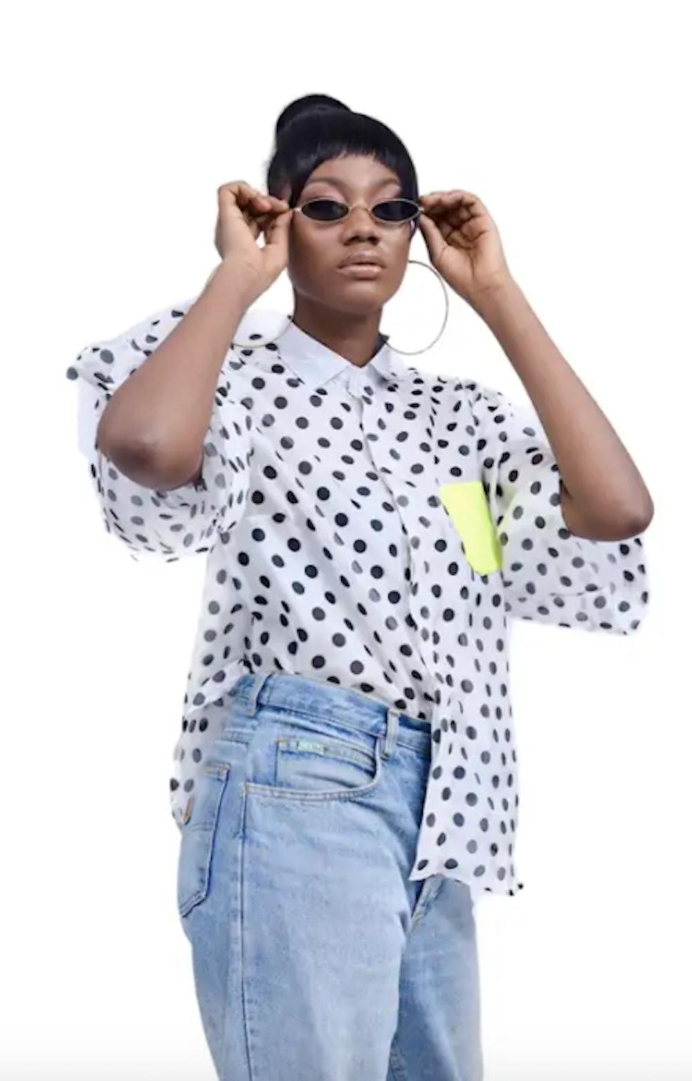 Fruché 'Jacq' Polka Dot Shirt with Neon Pocket Detail