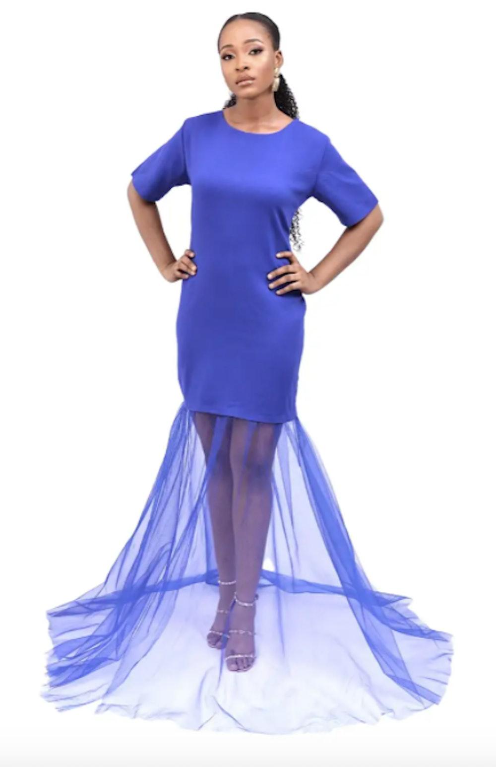 ROCOCO 'Calliope' Cobalt Tulle & Crepe Tee Shirt Dress