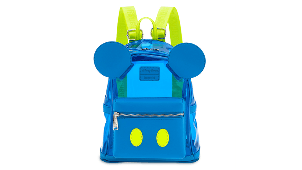 A Neon Summer Mickey Mouse backpack has neon yellow straps.