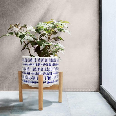 La Jolie Muse Ceramic Plant Pot with Wood Stand