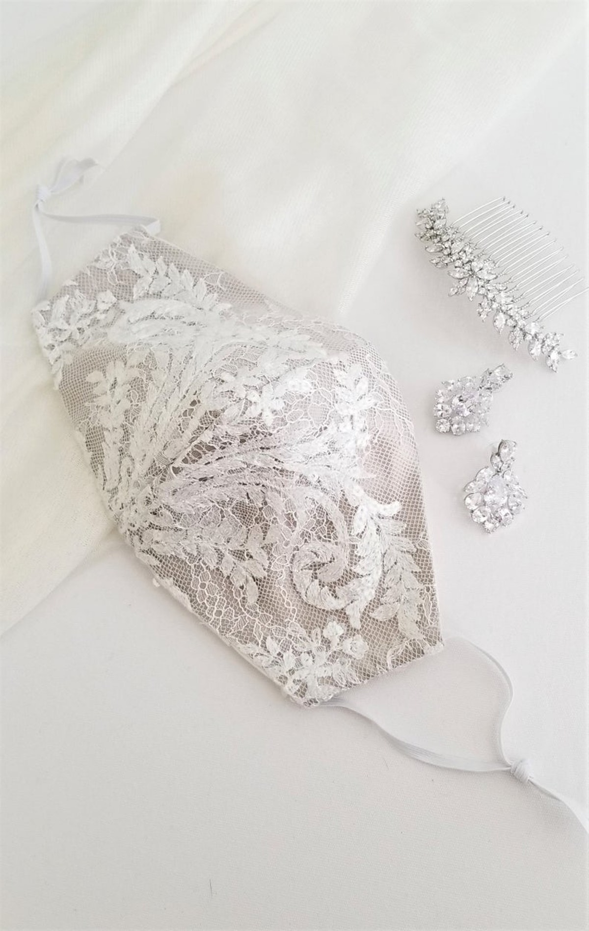 Face Mask For Bride, Silk and Lace Face Mask, Wedding Face Mask For Bride