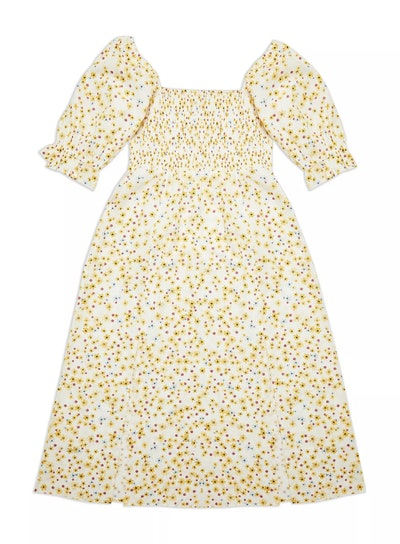 Ivory Puff Sleeve Shirred Floral Print Dress