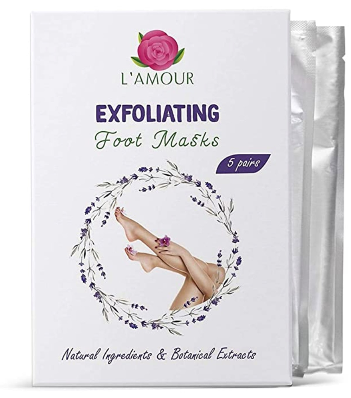 L'AMOUR 5 Pairs of Exfoliating Foot Peeling Masks