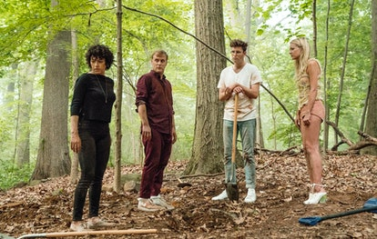Dory (Alia Shawkat), Elliot (John Early), Drew (John Reynolds), and Portia (Meredith Hagner) in 'Search Party' Season 2