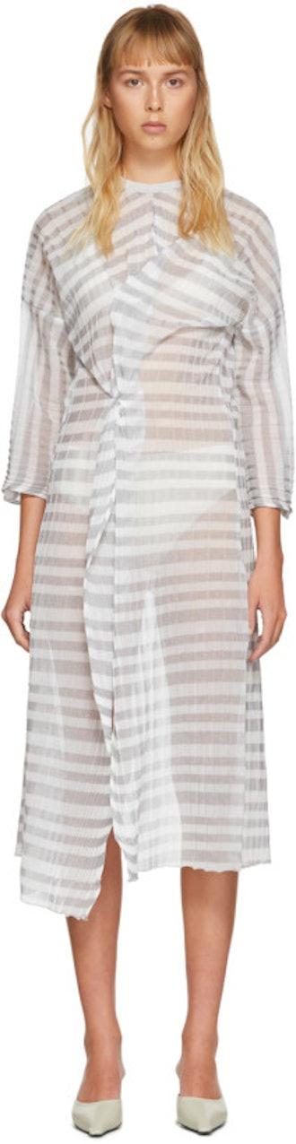 SSENSE Exclusive Grey Kimono Twist Dress