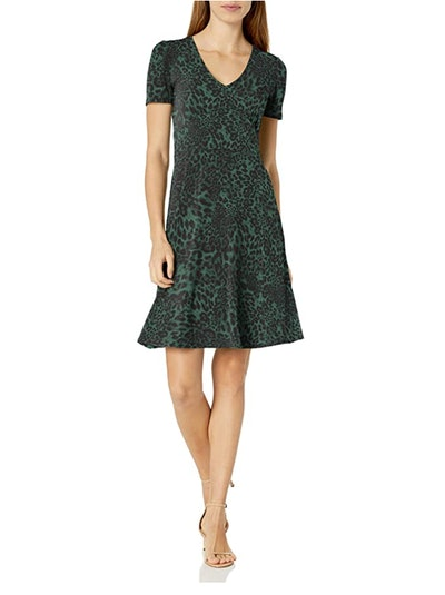 Lark & Ro Short Sleeve Fit and Flare Dress