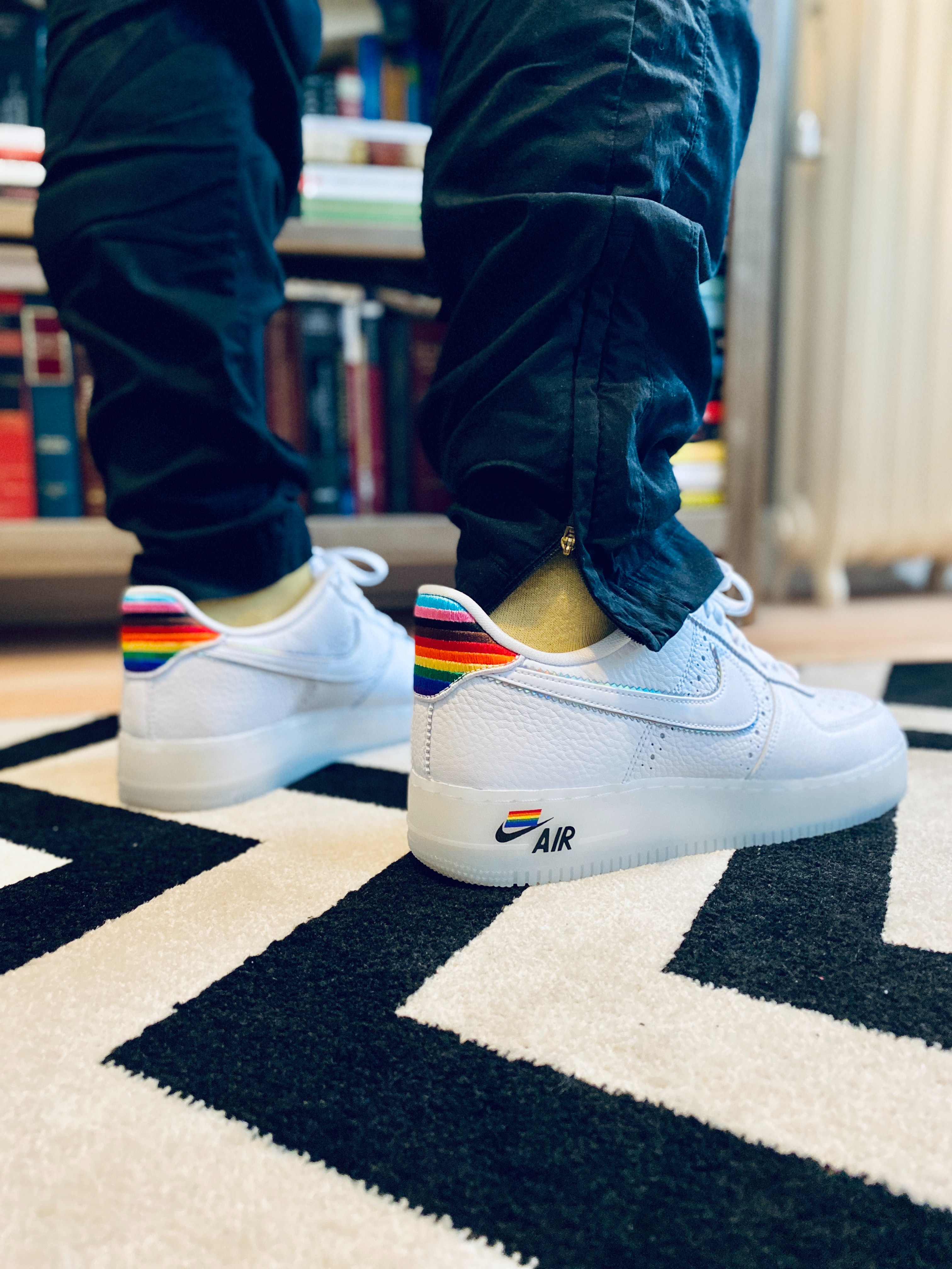 Wearing Nike's Pride-themed Air Force 1: Super gay, super good