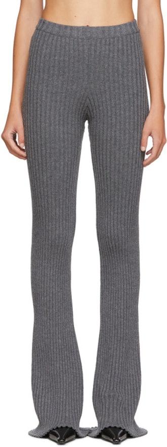 SSENSE Exclusive Grey Rib Knit Lounge Pants