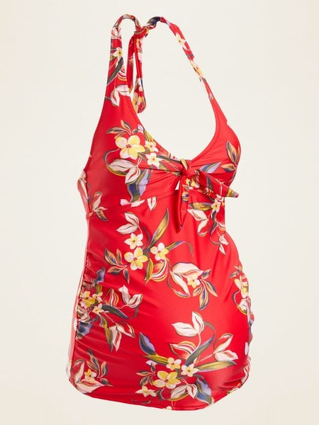 Maternity Floral-Print Halter Tankini Swim Top