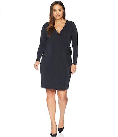 Lark & Ro Women's Plus Size Signature Long Sleeve Wrap Dress