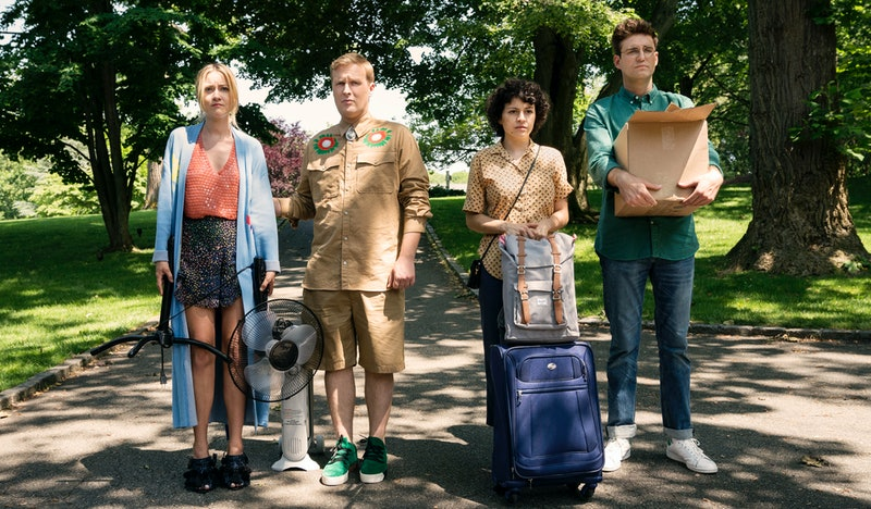 Portia (Meredith Hagner), Elliot (John Early), Dory (Alia Shawkat), and Drew (John Reynolds) in 'Search Party' Season 2