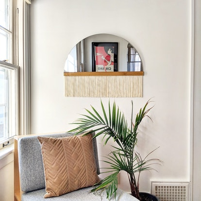 "Half-Circle Fringe Mirror: ""Aria"" (Straight Small) with Wood Slat"