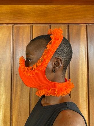 Orange Ruffle Face Mask