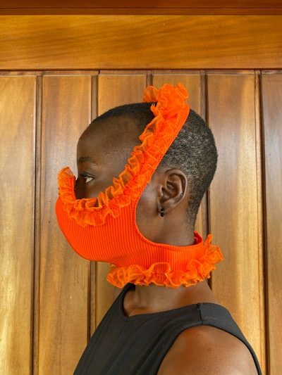 Orange Ruffle Face Mask