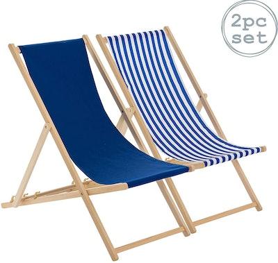 Harbour Housewares Traditional Adjustable Beach Garden Deck Chairs 2 piece set