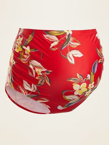 Maternity High-Waisted Floral-Print Swim Bottoms