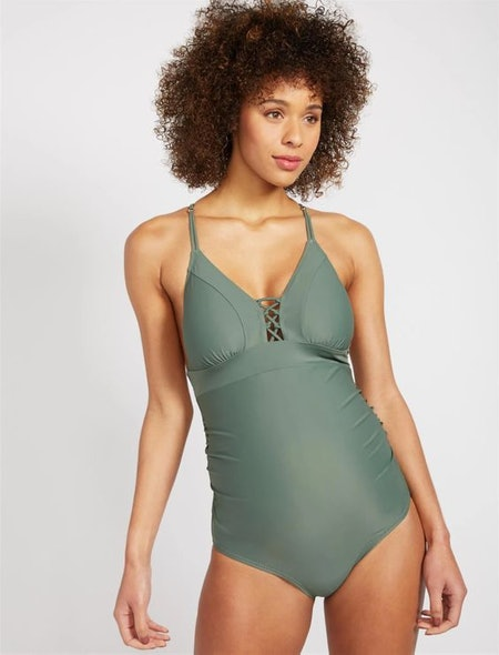 CROSS FRONT MATERNITY ONE PIECE SWIMSUIT - UPF 50+
