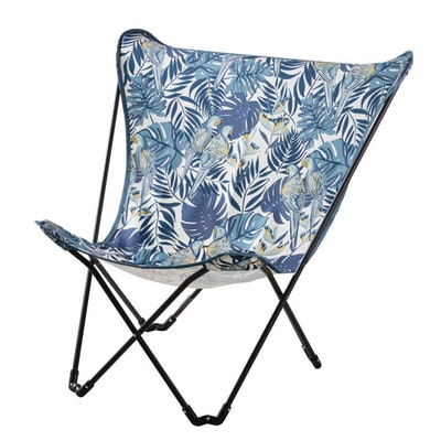 Folding Black Metal and Blue Printed Fabric Winged Garden Armchair