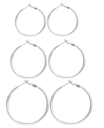 RoseJeopal Sterling Silver Hoop Earrings (3 Pairs)