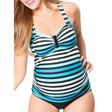 STARVNC Pregnant Women Two-piece Striped Multi-level Printing Tankini Swimsuit