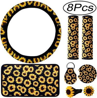 Hicdaw Sunflower Car Accessories (8 Pieces)