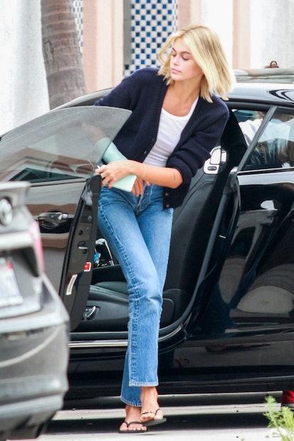 Kaia Gerber revealed platinum blonde hair in Malibu.