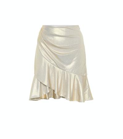 Ruffle-Trimmed Lamé Miniskirt