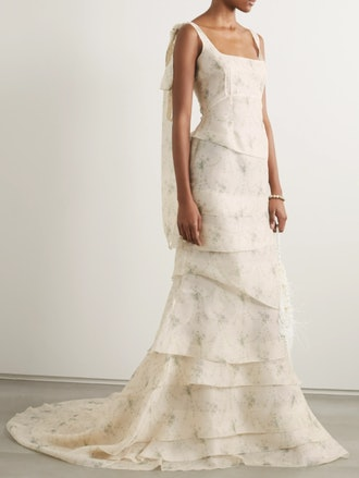 Tiered Floral Print Organza Gown