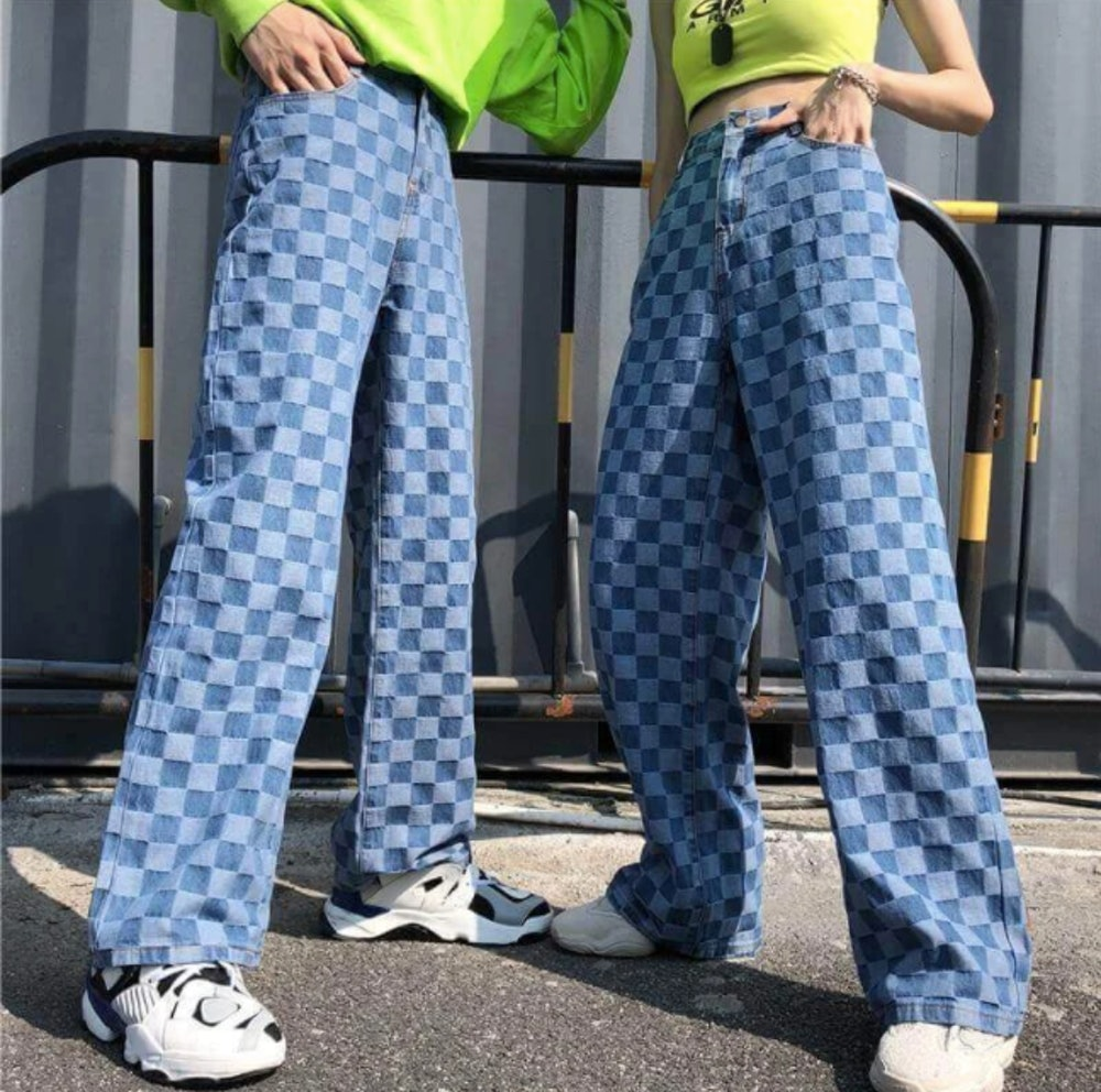 CHECKER PLAID BLUE LOOSE PANTS