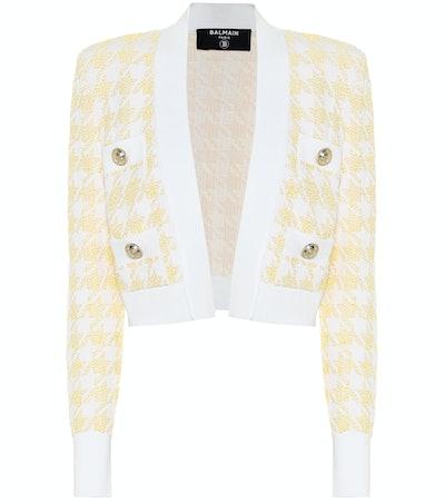 Houndstooth Jacquard Cropped Jacket