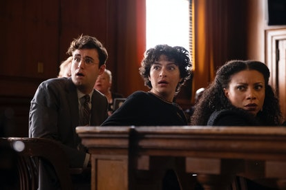 John Reynolds (as Drew), Alia Shawkat (as Dory), and Shalita Grant (as Cassidy) in 'Search Party'
