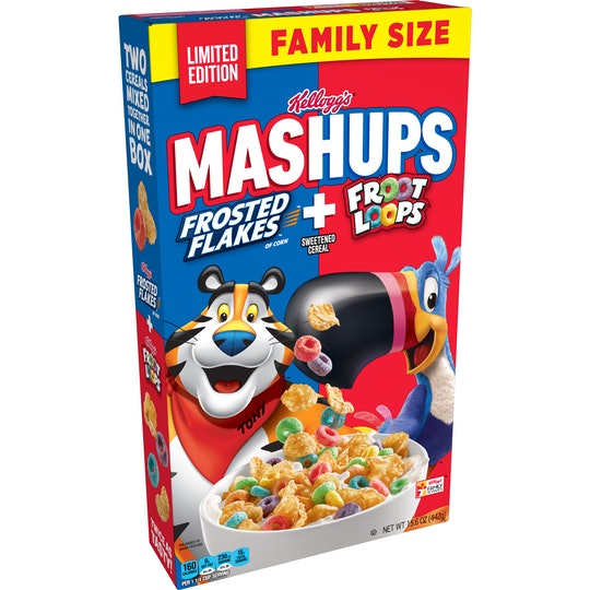 New Kellogs MASHUPS cereal combines Froot Loops and Frosted Flakes to make your childhood breakfast dreams a reality.