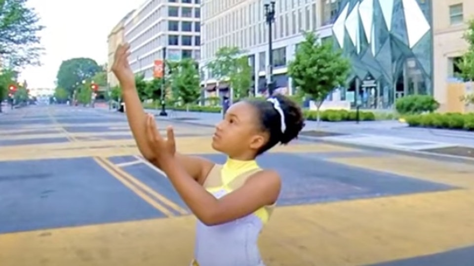 A 9-year-old figure skater performed a beautiful routine at the Black Lives Matter plaza.