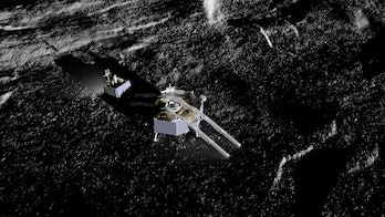 An artist's conception of the Griffin, having successfully landed on lunar soil.