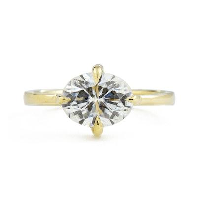 1.5Ct Eva East West Oval Moissanite Engagement Ring
