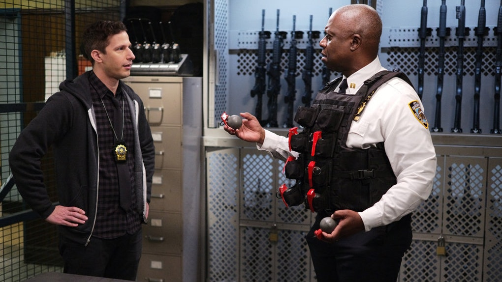 Andy Samberg as Jake Peralta, Andre Braugher as Ray Holt in 'Brooklyn Nine-Nine'