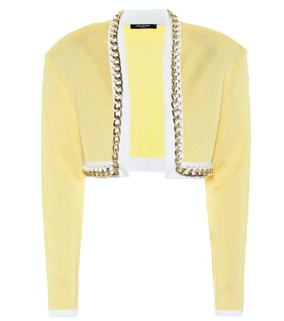 Chain-Link Cropped Knit Jacket