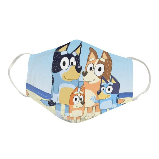 An image of a nonsurgical face mask with Bluey and his family on it.