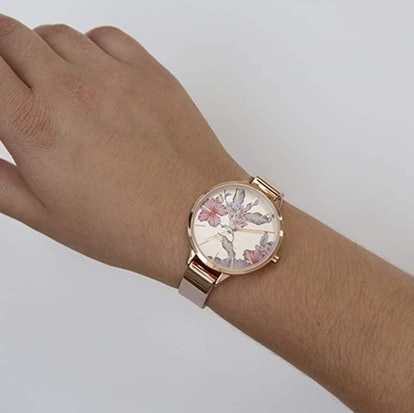 NINE WEST Gold-Tone and Blush Pink Strap Watch