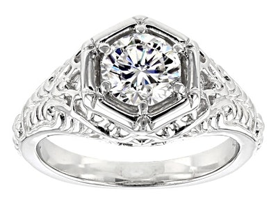 Moissanite Fire® Round Platineve™ Ring