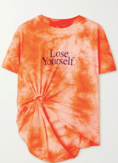 Knotted printed tie-dye cotton-jersey T-shirt