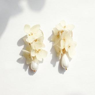 Verena Hydrangea Flower Drop Earrings With Teardrop Pearl