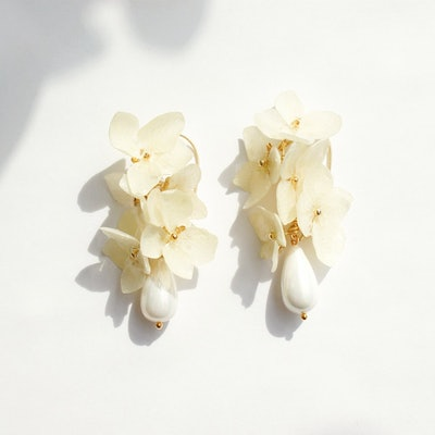 Verena Hydrangea Flower Drop Earrings With Teardrop Pearl